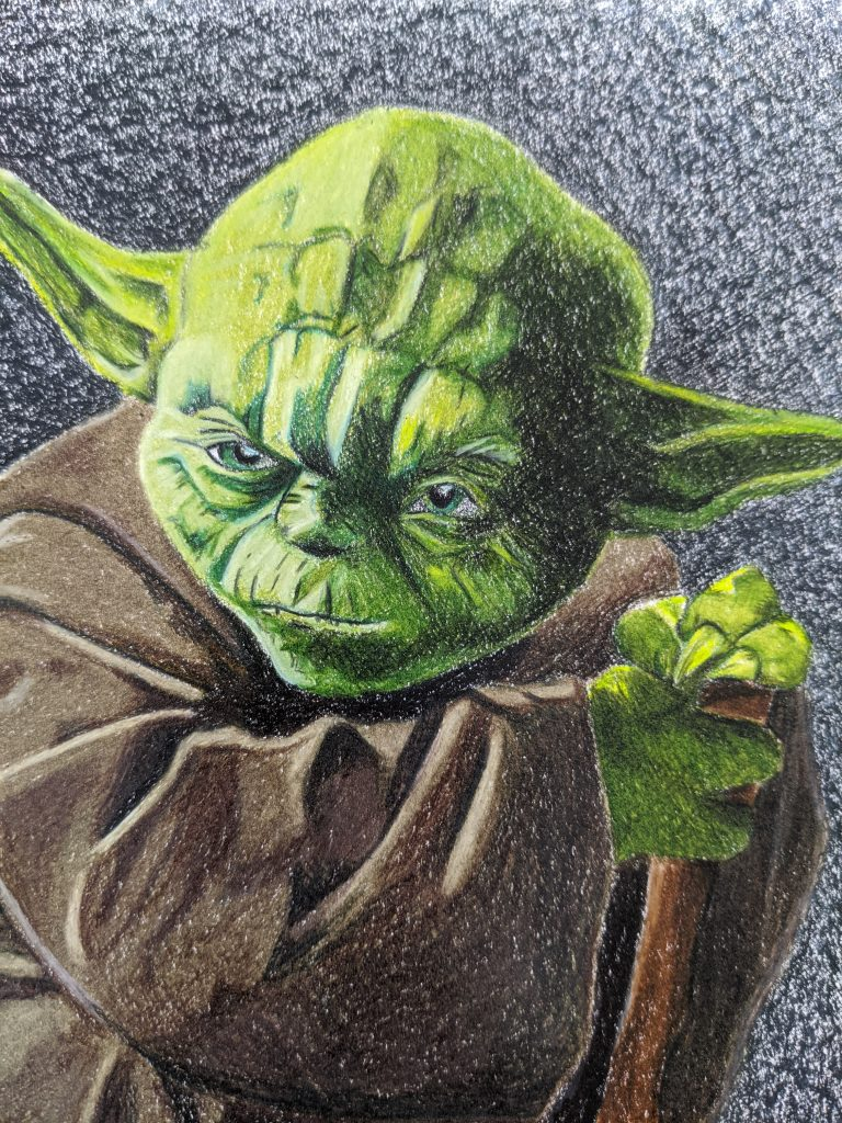 Yoda colored pencil illustration by Aurora Whittet Best