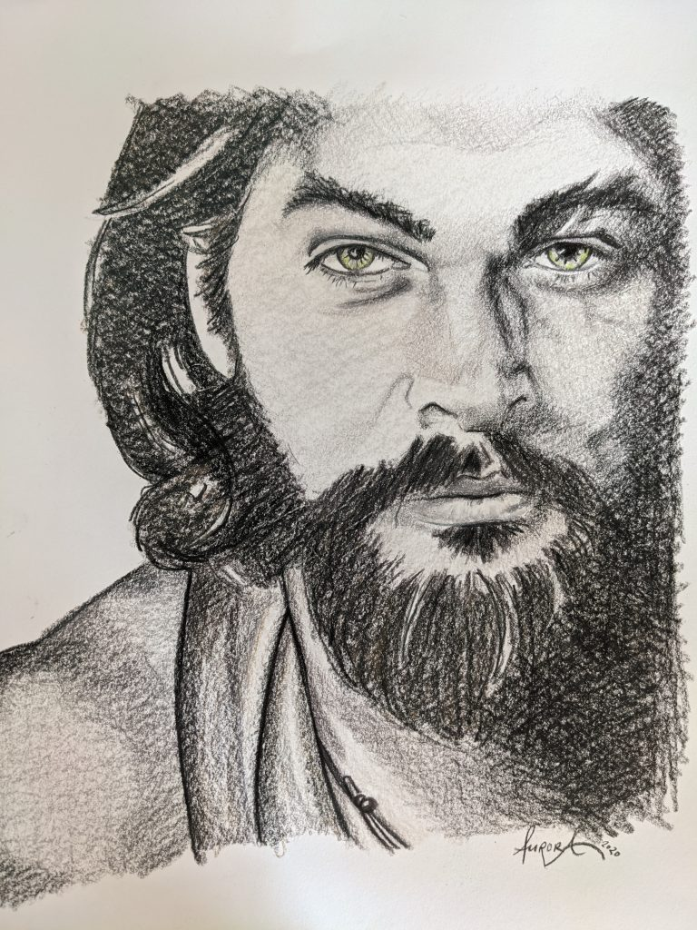 Jason Momoa Portrait Illustration by Aurora Whittet Best Red Organic