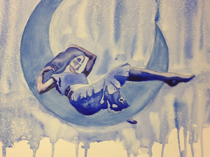 Blue Moon Watercolor by Aurora Whittet Best